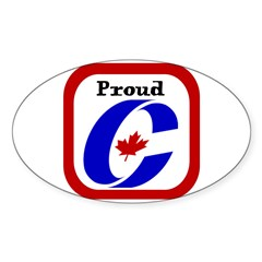 Proud Canadian Conservative Rectangle Sticker (Oval 50 pk)