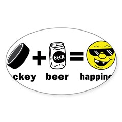 Funny Hockey Rectangle Sticker (Oval 50 pk)