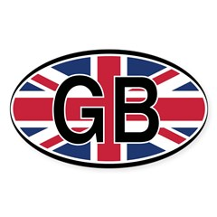 Great Britain Euro Oval Sticker (Oval 50 pk)