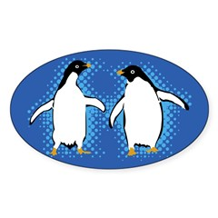 Dancing Penguins Rectangle Sticker (Oval 50 pk)
