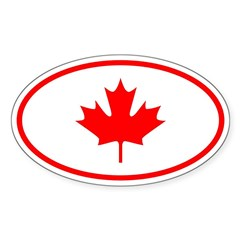 Canada Oval Sticker (Oval 50 pk)