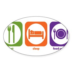 Eat Sleep Food Service Rectangle Sticker (Oval 50 pk)