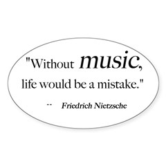Without music, life is a mist Sticker (Rectangular Sticker (Oval 50 pk)