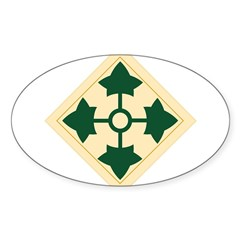 4th Infantry Division Rectangle Sticker (Oval 50 pk)