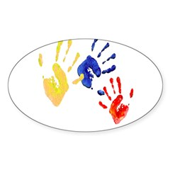 Colombian hands Sticker (Oval 50 pk)