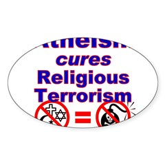 Atheism Cures Terrorism Rectangle Sticker (Oval 50 pk)