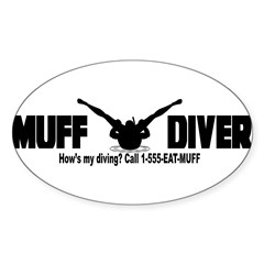 Muff Diving Sticker (Oval 50 pk)