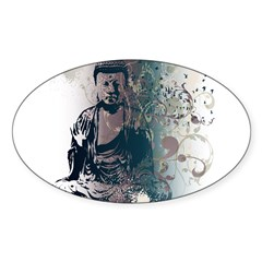 Pretty Buddha Rectangle Sticker (Oval 50 pk)