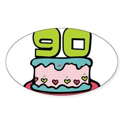 "90th Birthday Cake 3"" Lapel Sticker (48 pk) Sticker (Oval 50 pk)"