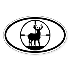 Hunting Stag Oval Sticker (Oval 50 pk)