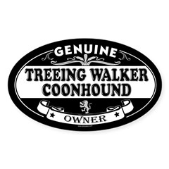 TREEING WALKER COONHOUND Oval Sticker (Oval 50 pk)