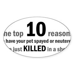 10 Reasons to Spay/Neuter Rectangle Sticker (Oval 50 pk)