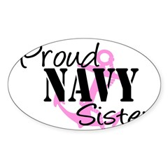 Proud Navy Sister - Pink Anch Sticker (Rectangular Sticker (Oval 50 pk)