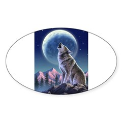 Howling Wolf 1 Rectangle Sticker (Oval 50 pk)
