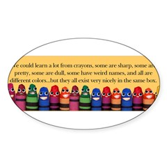Peaceful Crayons Sticker (Oval 50 pk)