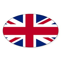Union Jack Rectangle Sticker (Oval 50 pk)