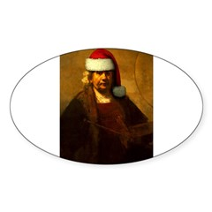 Rembrandt Santa Rectangle Sticker (Oval 50 pk)