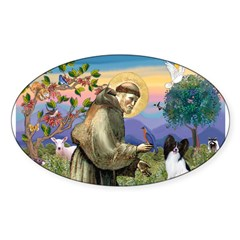St Francis & Papillon Rectangle Sticker (Oval 50 pk)