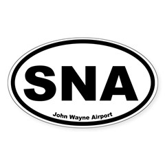John Wayne Airport Oval Sticker (Oval 50 pk)