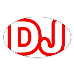 DJ Rectangle Sticker (Oval 50 pk)