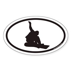 Snowboarding Euro Oval Sticker (Oval 50 pk)