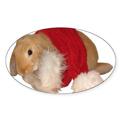 """Xmas Bunny 1"" Rectangle Sticker (Oval 50 pk)"