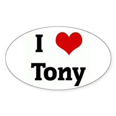 I Love Tony Rectangle Sticker (Oval 50 pk)