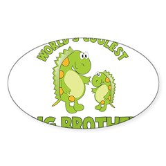 world's coolest big brother dinosaur Sticker (Oval 50 pk)