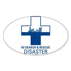 K9 Crosses - Disaster Search Rectangle Sticker (Oval 50 pk)