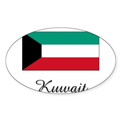 Kuwait Flag Rectangle Sticker (Oval 50 pk)