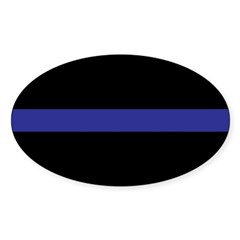 Thin Blue Line Rectangle Sticker (Oval 50 pk)