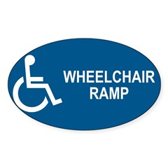 Wheelchair Ramp Notice Rectangle Sticker (Oval 50 pk)