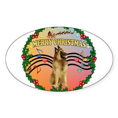 XmasMusic2/Tervuren Sticker (Oval 50 pk)