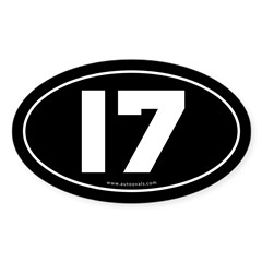 #17 Euro Bumper Oval Sticker -Black Sticker (Oval 50 pk)