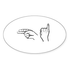 ASL greeting Rectangle Sticker (Oval 50 pk)
