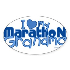 I Love My Marathon Grandma Rectangle Sticker (Oval 50 pk)