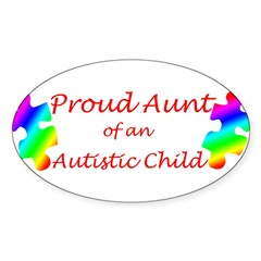Autism Aunt Sticker (Oval 50 pk)