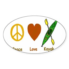 Peace,Luv,Kayak Sticker (Oval 50 pk)