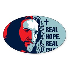 Real Hope. Real Change. Rectangle Sticker (Oval 50 pk)