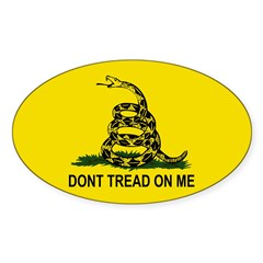 Gadsden Flag Oval Sticker (Oval 50 pk)