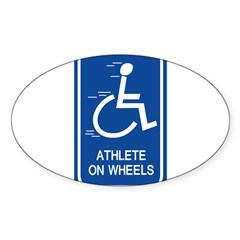 'Athlete on Wheels' Rectangle Sticker (Oval 50 pk)