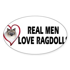 Real Men Love Ragdolls Sticker (Oval 50 pk)
