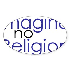 Imagine no Religion Rectangle Sticker (Oval 50 pk)