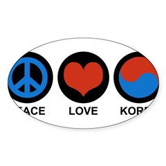 Peace Love Korea Rectangle Sticker (Oval 50 pk)