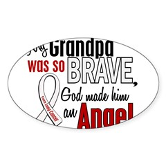 Angel 1 GRANDPA Lung Cancer Rectangle Sticker (Oval 50 pk)