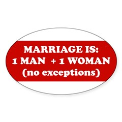 Marriage is 1 Man + 1 Woman Sticker (Oval 50 pk)
