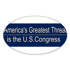 America's Greatest Threat Sticker (Oval 50 pk)