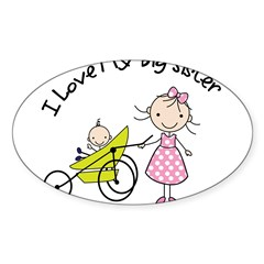 little brother big sister matching shirt Sticker (Oval 50 pk)