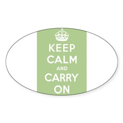 Sage Green Rectangle Sticker (Oval 50 pk)