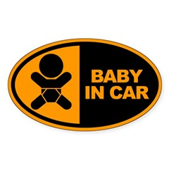Baby in Car Safety Sticker for Car Sticker (Oval 50 pk)